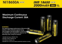 Аккумулятор NiteCore IMR NL18650 3.7v 2000mA 30A FLAT TOP